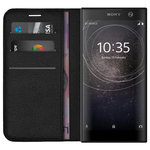 Leather Wallet & Card Slot Holder Case for Sony Xperia XA2 - Black